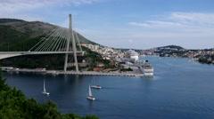 Franjo Tudman Bridge in Dubrovnik Stock Footage