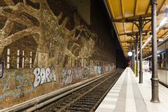 Graffitti in Savigny Platz Station in Berlin - stock photo