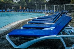 Bad Weather During Vacation at the Pool - stock photo