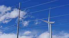 Wind Turbine and Power Lines Stock Footage
