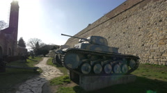 Military tank at Belgrade Fortress Stock Footage