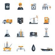 Oil Industry Flat Icon - stock illustration
