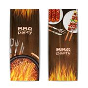 Bbq Grill Banners - stock illustration