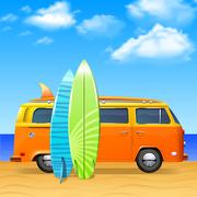 Bus With Surf Boards - stock illustration