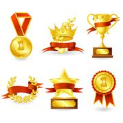 Trophy and prize emblem - stock illustration