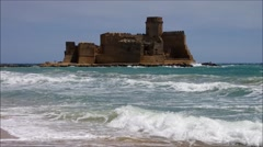 La Castella in southern Italy, old castle in the sea and big waves. Stock Footage