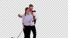 K14A8767 Couple with trolley, self portrait, mobile phone Stock Footage