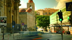 Palermo, Italy: St. John of the Hermits domes with traffic cars,time lapse, 4k, Stock Footage