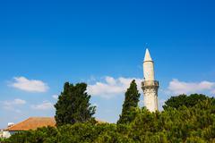 Djami Kebir Mosque Minaret (Buyuk Cami, Cami Kebir) in Larnaca, southern Cypr - stock photo