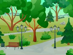 Park Landscape Illustration Stock Illustration