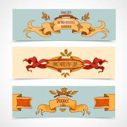 Hand Drawn Ribbons Banners Stock Illustration
