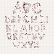 Mechanical Alphabet Set Stock Illustration