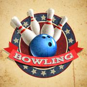 Bowling Emblem Background - stock illustration