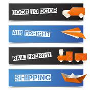 Origami Logistic Banners Stock Illustration