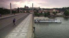 Manesuv most/Manes bridge over river Vltava, Prague, Czech Republic, traffic Stock Footage