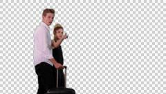 K14A8764 - couple, trolley, pointing, blonde - stock footage