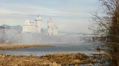 Castle in the smoke of the fire Stock Footage