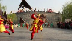 Actors perform the traditional Confucian Six Arts in Qufu Confucius temple Stock Footage