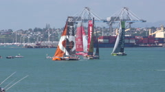 Volvo 2015 Ocean Race Auckland New Zealand - stock footage