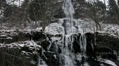 Waterfall Romkerhalle in Winter, Harz Mountains Stock Footage