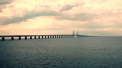 Oresund Bridge,oresunds bron, bridge on the sea , Stock Footage