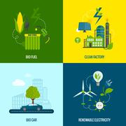 Eco energy flat icons composition Piirros