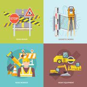 Road Worker Flat - stock illustration