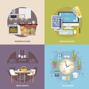 Kitchen Furniture Set Stock Illustration