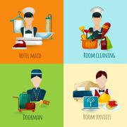 Hotel Maid Set - stock illustration