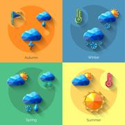 Seasons Weather Set - stock illustration