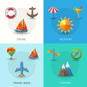 Travel Polygonal Set Stock Illustration