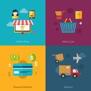 Stock Illustration of Online Shopping Set