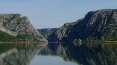 Visovac lake in Croatia, the river Krka near sibenik Stock Footage
