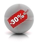 30 percent off sale tag on a sphere - stock illustration