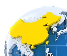 Globe with extruded continents, close-up on China - stock illustration