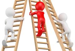 3D white people. Businessmen climbing a wooden ladder - stock illustration
