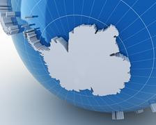 Globe with Antarctica, 3d render Stock Illustration