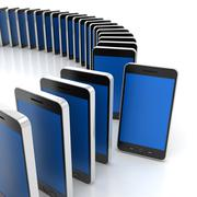 Group of generic smartphones with one standing out, 3d render Stock Illustration