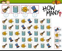 counting game cartoon illustration - stock illustration