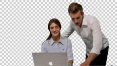 K14A8775 - Girl on Laptop, boss comes bye and laughs.. Stock Footage