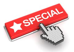 Clicking on special button, 3d render Stock Illustration