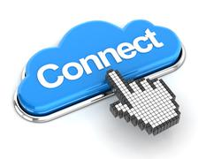 Hand cursor clicking a cloud shaped connect button, 3d render - stock illustration