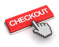 Clicking a checkout button - stock illustration