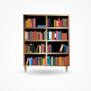 Bookcase with Books Icon Vector Illustration - stock illustration