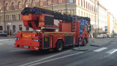 Fire Engines on way to emergency near Fridhemsplan,  Stockholm Stock Footage