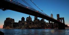 New York City Brooklyn Bridge skyline sunset evening night - stock footage