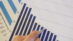 Close-Up Market Analyze Sales Chart Stock Footage