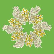 A wreath of leaves on green - stock illustration
