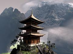 Buddhist temple Stock Illustration