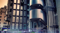 Time lapse shot of Lloyds building in London, England - stock footage